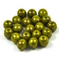 Cseh préselt golyó gyöngy -  világos oliva réz terracotta - 6mm