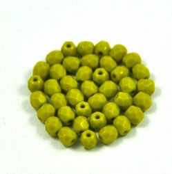 Cseh csiszolt golyó gyöngy - telt olivazöld-4mm