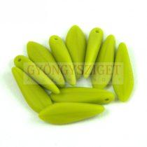 Lándzsa (szirom) cseh préselt üveggyöngy - Green Pea Matt - 5x16mm