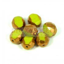 Cseh csiszolt golyó gyöngy - 3 cut - zöld bronz - 9mm