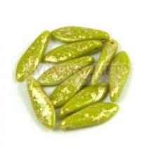 Lándzsa (szirom) cseh préselt üveggyöngy - Green Pea Gold Patina - 5x16mm