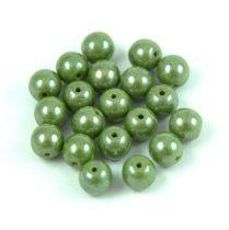 Cseh préselt golyó gyöngy - Opaque Olive Luster - 6mm