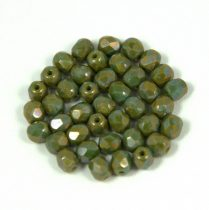 Cseh csiszolt golyó gyöngy - olivin nebula - 4mm