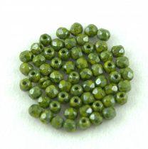Cseh csiszolt golyó gyöngy - Opaque Green Blue Terracotta Luster - 3mm