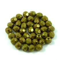 Czech Firepolished Round Glass Bead - olivin bronze luster - 4mm