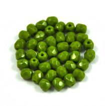 Czech Firepolished Round Glass Bead - opaque pea-6mm