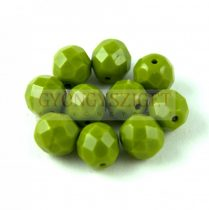 Czech Firepolished Round Glass Bead - Opaque Green Pea - 8mm
