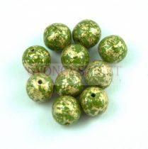 Cseh préselt golyó gyöngy - Green Gold Patina - 6mm