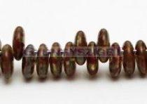 Lentil with Asymetrical Hole - Czech Glass Bead --zöld-barna márvány -6mm