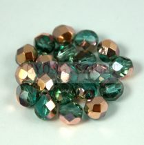 Czech Firepolished Round Glass Bead - light emerald apollo - 6mm