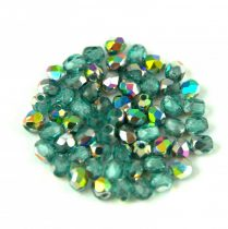 Czech Firepolished Round Glass Bead - Teal Vitrail - 3mm