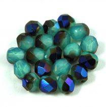 Czech Firepolished Round Glass Bead - opal turquoise metallicblue - 6mm