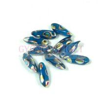 Lándzsa (szirom) cseh préselt üveggyöngy - türkiz kék peacock - 3x11mm