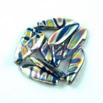 Lándzsa (szirom) cseh préselt üveggyöngy - Capri Blue Vitrail - 5x16mm