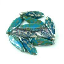 Lándzsa (szirom) cseh préselt üveggyöngy - Turquoise Blue Picasso -5x16mm