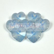 Swarovski fűzhető szív 14mm - white opal blue shade