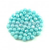 Czech Firepolished Round Glass Bead - Opaque Inocent Blue Luster - 3mm