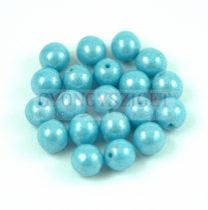 Cseh préselt golyó gyöngy - Opaque Turquoise Blue Luster - 4mm