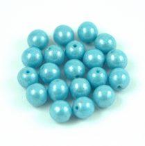Cseh préselt golyó gyöngy - Blue Turquoise Luster - 6mm