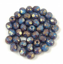 Cseh csiszolt golyó gyöngy - Opaque Turquoise Blue Purple Luster - 4mm