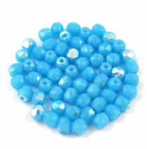 Cseh csiszolt golyó gyöngy - Turquoise Blue AB - 3mm