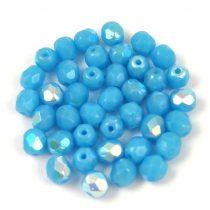 Cseh csiszolt golyó gyöngy - Opaque Turquoise Blue AB - 4mm