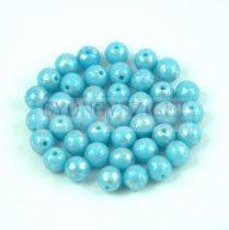 Cseh préselt golyó gyöngy - Opaque Turquoise Blue Silver Patina - 4mm