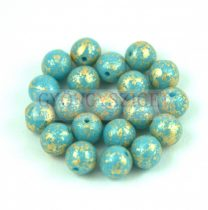 Cseh préselt golyó gyöngy - Opaque Turquoise Blue Gold Patina - 3mm