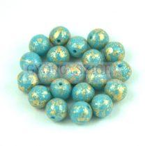 Cseh préselt golyó gyöngy - Opaque Turquoise Blue Gold Patina - 4mm