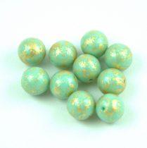Cseh préselt golyó - Light Turquoise Green Gold Patina - 8mm