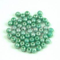 Cseh préselt golyó gyöngy - Opaque Turquoise Green Silver Luster - 3mm