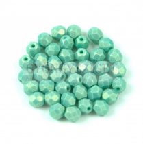 Cseh csiszolt golyó gyöngy - Sueded Gold Turquoise Green - 4mm