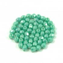 Cseh csiszolt golyó gyöngy -  Opaque Turquoise Green Luster - 3mm