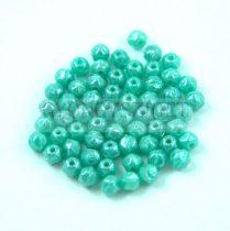 Cseh csiszolt golyó gyöngy - English cut - Turquoise Green Luster - 3.5mm