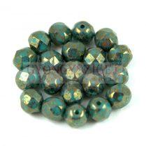 Cseh csiszolt golyó gyöngy - turquoise green bronze -6mm