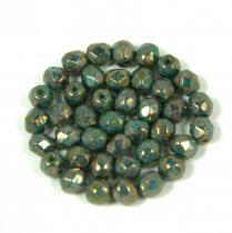 Cseh csiszolt golyó gyöngy - green turquoise senegal - 4mm