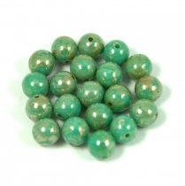 Cseh préselt golyó - Turquoise Green Picasso - 6mm