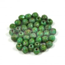 Czech Firepolished Round Glass Bead - Turquoise Green Picasso - 8mm