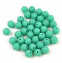 Cseh préselt golyó gyöngy - Matt Green Turquoise - 4mm