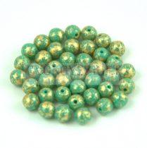 Cseh préselt golyó gyöngy - Opaque Turquoise Green Gold Patina - 4mm