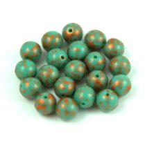Cseh préselt golyó - Opaque Green Turquoise Copper Patina - 6mm