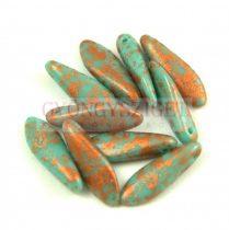 Lándzsa (szirom) cseh préselt üveggyöngy - Turquoise Green Copper Patina -5x16mm