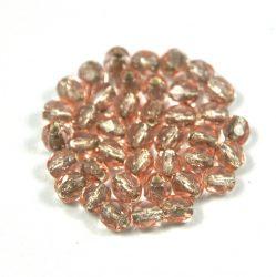 Cseh csiszolt golyó gyöngy - ezüst közepű rózsaszín-4mm
