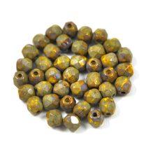 Cseh csiszolt golyó gyöngy - telt sárga ezüst traventin -4mm