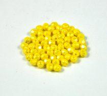 Cseh csiszolt golyó gyöngy - Opaque Yellow Luster  -3mm
