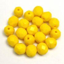 Cseh csiszolt golyó gyöngy - Opaque Yellow - 6mm