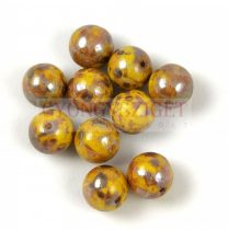 Czech Pressed Round Glass Bead - Jonquil Picasso - 8mm