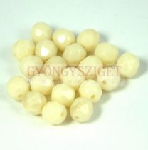 Czech Firepolished Round Glass Bead - ivory luster - 4mm