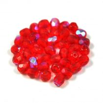 Cseh csiszolt golyó gyöngy - világos rubin ab -4mm