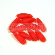 Lándzsa (szirom) cseh préselt üveggyöngy - matt átlátszó piros - 3x11mm